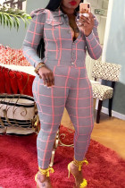Pink Casual Plaid Print Buckle Turndown Collar Long Sleeve Two Pieces