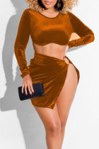 Brown Sexy Solid Hollowed Out Split Joint Slit O Neck One Step Skirt Dresses