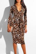 Leopard Print Casual Print Split Joint With Belt Zipper Collar One Step Skirt Dresses