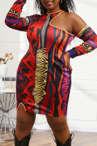 Red Sexy Print Hollowed Out Split Joint Asymmetrical O Neck One Step Skirt Plus Size Dresses