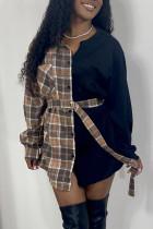Khaki Casual Plaid Print Split Joint Buckle With Belt Turndown Collar Tops