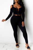 Black Sexy Solid Bandage Hollowed Out Split Joint U Neck Long Sleeve Two Pieces