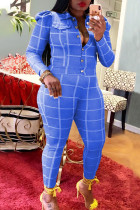 Blue Casual Plaid Print Buckle Turndown Collar Long Sleeve Two Pieces