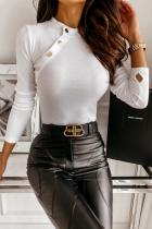 White Fashion Elegant Solid Split Joint Buckle O Neck Tops