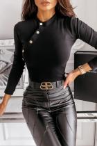 Black Fashion Elegant Solid Split Joint Buckle O Neck Tops