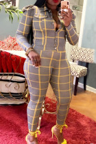 Yellow Casual Plaid Print Buckle Turndown Collar Long Sleeve Two Pieces