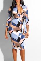 Blue Pink Casual Print Split Joint With Belt Zipper Collar One Step Skirt Dresses