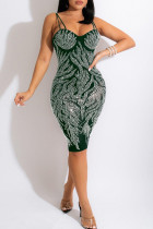Green Fashion Sexy Hot Drilling Backless Spaghetti Strap Sleeveless Dress