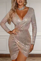 Khaki Sexy Solid Split Joint  Sequins V Neck Irregular Dress Dresses