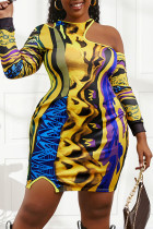 Yellow Sexy Print Hollowed Out Split Joint Asymmetrical O Neck One Step Skirt Plus Size Dresses