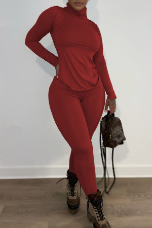 Red Casual Solid Split Joint Turtleneck Long Sleeve Two Pieces