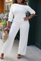 White Casual Solid Split Joint Oblique Collar Straight Jumpsuits