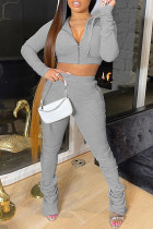 Light Gray Fashion Solid Fold Hooded Collar Long Sleeve Two Pieces