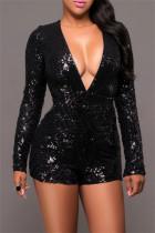 Black Fashion Sexy Patchwork Sequins V Neck Regular Romper