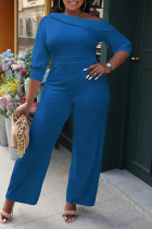 Blue Casual Solid Split Joint Oblique Collar Straight Jumpsuits