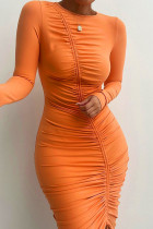 Orange Sexy Solid Split Joint Draw String Fold O Neck One Step Skirt Dresses