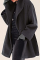 Black Casual Elegant Solid Split Joint Buttons Hooded Collar Outerwear