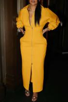 Yellow Fashion Casual Solid Split Joint Slit Zipper Turndown Collar Long Sleeve Dresses
