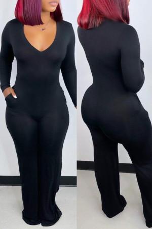 Black Fashion Casual Solid Basic V Neck Regular Jumpsuits