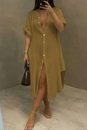 Coffee Fashion Casual Solid Split Joint Turndown Collar Long Sleeve Dresses