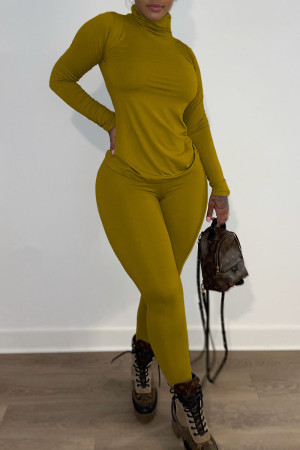 Yellow Casual Solid Split Joint Turtleneck Long Sleeve Two Pieces