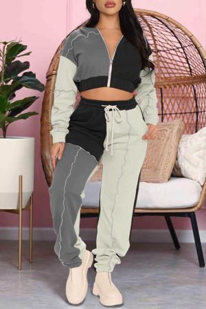 Black Casual Sportswear Solid Split Joint Zipper Hooded Collar Long Sleeve Two Pieces