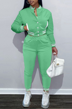 Green Fashion Casual Solid Split Joint Long Sleeve Two Pieces