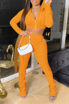 Caramel Colour Fashion Solid Fold Hooded Collar Long Sleeve Two Pieces