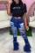 Dark Blue Fashion Casual Solid Ripped High Waist Boot Cut Denim Jeans