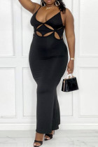 Black Fashion Sexy Plus Size Solid Hollowed Out Backless Spaghetti Strap Long Dress