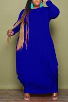Blue Casual Solid Split Joint O Neck Irregular Dress Plus Size Dresses