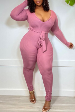 Pink Casual Solid Split Joint With Belt V Neck Skinny Jumpsuits