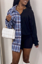 Blue Casual Plaid Print Split Joint Buckle With Belt Turndown Collar Tops