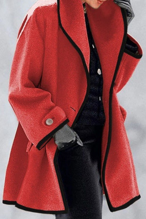 Red Fashion Casual Solid Split Joint Turndown Collar Outerwear