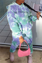 Light Blue Fashion Casual Letter Print Tie-dye Hooded Collar Long Sleeve Two Pieces