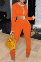 Orange Fashion Casual Solid Bandage Fold Hooded Collar Long Sleeve Two Pieces
