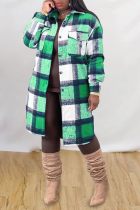 Green Casual Plaid Split Joint Peter Pan Collar Outerwear