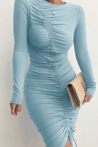Blue Sexy Solid Split Joint Draw String Fold O Neck One Step Skirt Dresses