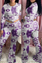 Purple Fashion Casual Tie Dye Printing O Neck Long Sleeve Two Pieces