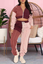 Pink Casual Sportswear Solid Split Joint Zipper Hooded Collar Long Sleeve Two Pieces