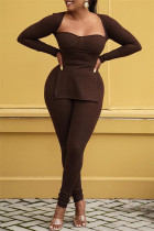 Dark Brown Fashion Casual Solid Slit Square Collar Long Sleeve Two Pieces