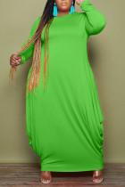 Green Casual Solid Split Joint O Neck Irregular Dress Plus Size Dresses