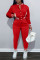 Red Fashion Casual Solid Split Joint Long Sleeve Two Pieces