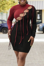 Burgundy Sexy Solid Hollowed Out Split Joint Frenulum O Neck One Step Skirt Dresses
