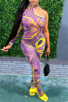 Purple Fashion Sexy Print Hollowed Out Backless O Neck Skinny Jumpsuits