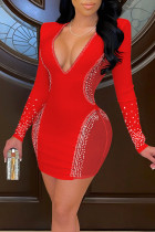 Red Sexy Solid Split Joint Hot Drill V Neck One Step Skirt Dresses
