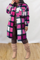 Rose Red Casual Plaid Split Joint Peter Pan Collar Outerwear
