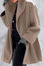 Camel Casual Elegant Solid Split Joint Buttons Hooded Collar Outerwear