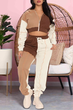 Khaki Casual Sportswear Solid Split Joint Zipper Hooded Collar Long Sleeve Two Pieces