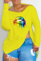Yellow Fashion Casual Lips Printed Slit Asymmetrical Off the Shoulder Tops